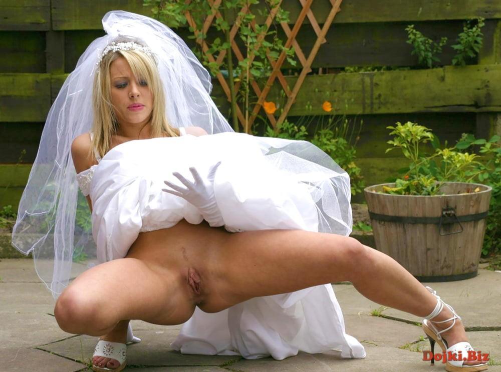 Невеста подняла подол свадебного платья показала свой волосатый сейф