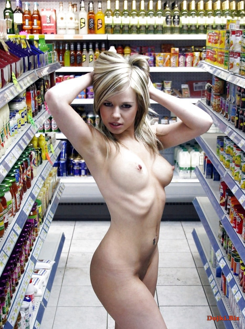 Milf strips naked in the grocery store