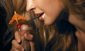 Девушка пьет сперму сунув в залупу члена трубочку