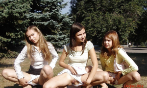 Три студентки засветили в парке киски под трусиками